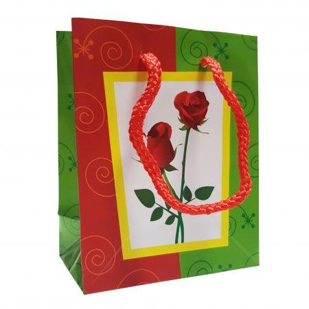 Pungă cadou S, trandafiri, 11x14x6 cm