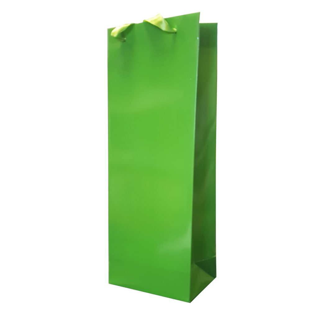 Punga Plastifiata carton Sticla 12.5x36x8 cm - set 10 buc. verde