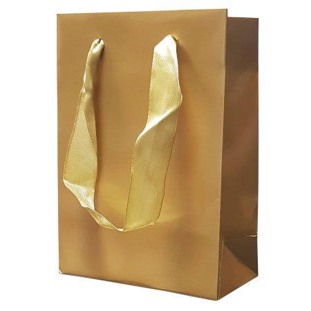 Punga Plastifiata carton S 11.5x16x6 cm - set 10 buc. auriu