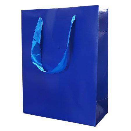 Punga Plastifiata carton M 17.5x23x10 cm. - set 10 buc. albastru
