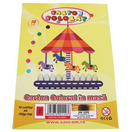 carton colorat 10 coli 160 gr